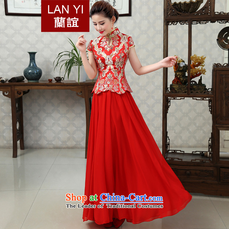 In the friends of autumn and winter Chinese dragon serving toasting champagne dress bride use costume hi-Wedding dress short-sleeved cheongsam dress Marriage?Code Red XXL waist 2.3 Feet