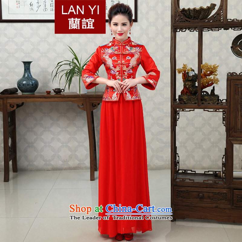 In the friends of autumn and winter Chinese dragon serving toasting champagne dress bride use costume hi-wedding gown 7 horn cuff cheongsam dress winter of marriage thick long-sleeved?XL 2.2 feet waistline code