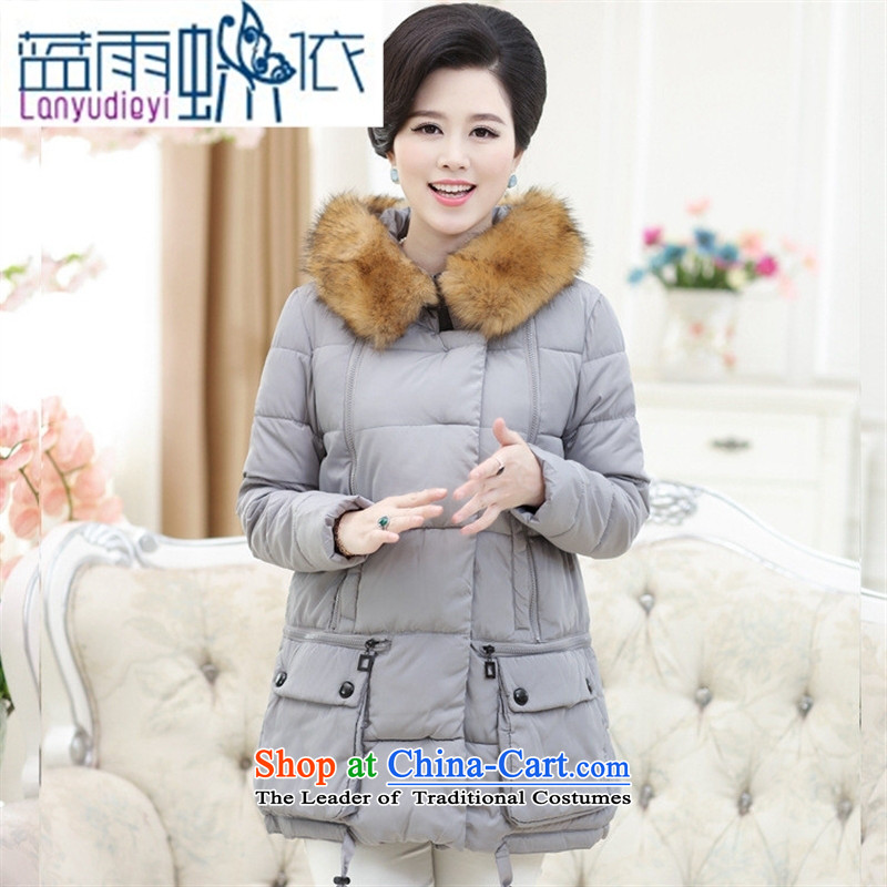 In the winter Ya-ting shop older cotton waffle pack mother stylish middle-aged moms cotton coat loose large down jacket female gray�XL