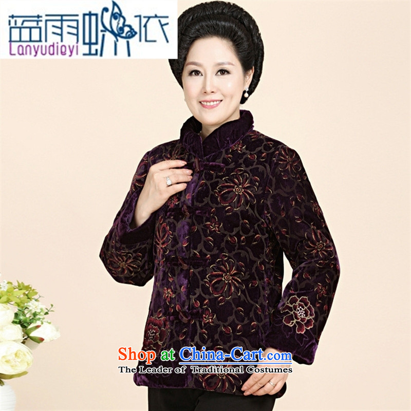 Ya-ting shop in older women's 2015 new stylish coat mother with Kim scouring pads for winter 55-65 grandma thermal wear wine red?XL