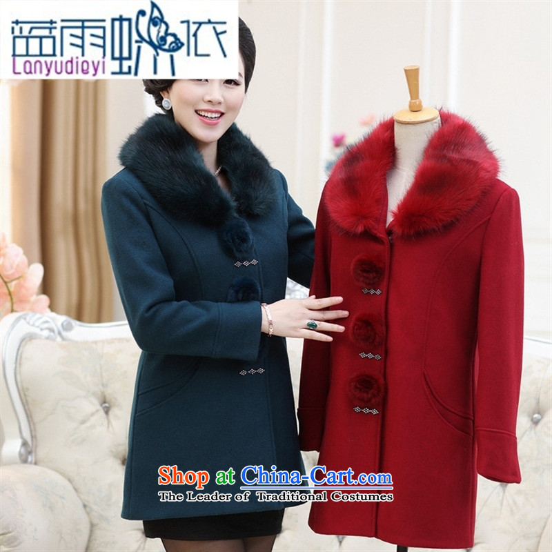 Ya-ting shop in large numbers of older women's winter new a wool coat for long-Nagymaros Mao jacket middle-aged moms load? Better燲XXXL red