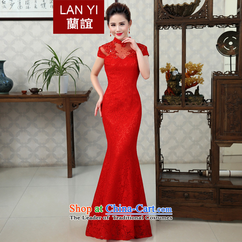 In?2015 the new Marriage friends qipao gown lace Bridal Services Improved retro bows crowsfoot Sau San long evening dresses fall new product?codes 2 feet waistline M
