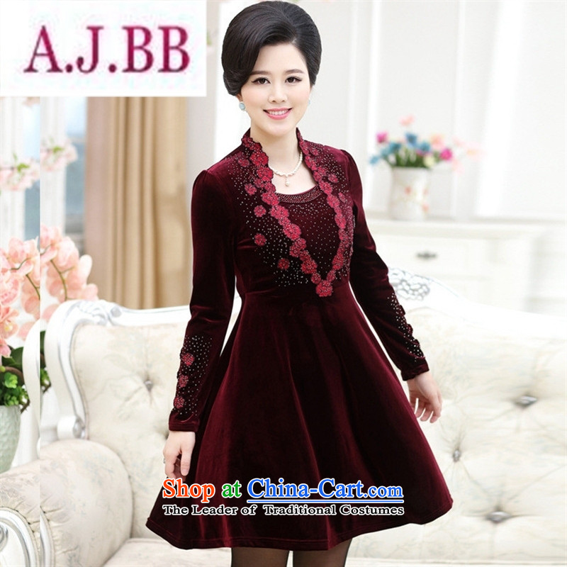 Ms Rebecca Pun stylish shops 2015 autumn and winter new mother in older women's large long-sleeved ironing drill temperament Sau San Kim black velvet燲XXL