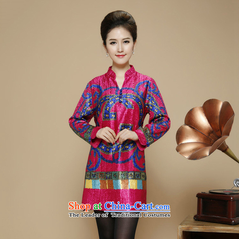 The nest products�in 2015, the elderly lady's wedding replacing mother silk dresses wedding dress code in the large long Tang dynasty in red�XXXL