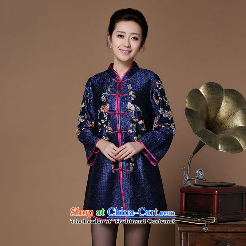 The nest products silk creases in MOM older Tang blouses large ethnic Chinese Tang blue?XL