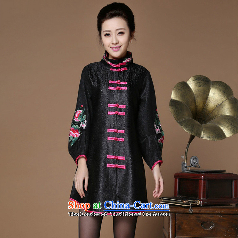The nest products?fall 2015 high-end silk creases Chinese Tang blouses elegant mother middle-aged ladies Wind Jacket Black?XL