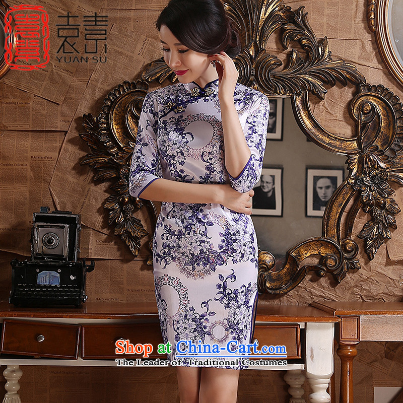 Yuan of the Contouring workspace New cheongsam dress with retro style improvement autumn cheongsam dress, China wind porcelain qipao ZA3G06 light purple XXL