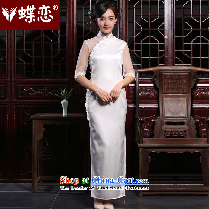 The Butterfly Lovers 2015 autumn and winter new long banquet Sau San graphics and sexy thin back white silk cheongsam dress white燬
