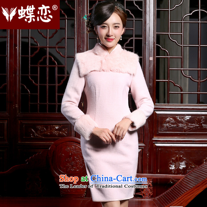 The Butterfly Lovers 2015 autumn and winter new women's gross? qipao short warm and stylish long-sleeved rabbit hair for stitching qipao pink?S