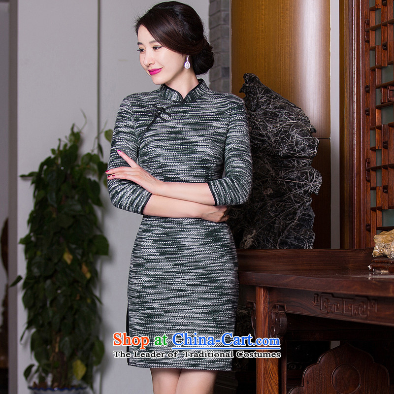 Floral autumn and winter new stylish retro in style qipao and improved long hair? In cuff video thin cheongsam dress Sau San Figure Color?M