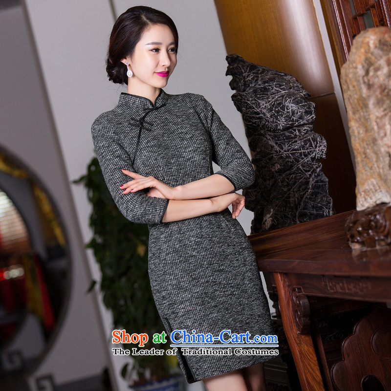 Dan breathing new gross qipao? In 2015 skirt autumn qipao cuff improvement of Sau San as the skirt map color�M