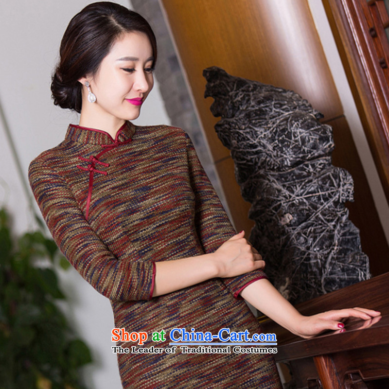 Dan Chu load new smoke, Chinese Daily in improved collar cuff cheongsam dress retro hair? If map color?3XL Cheongsam