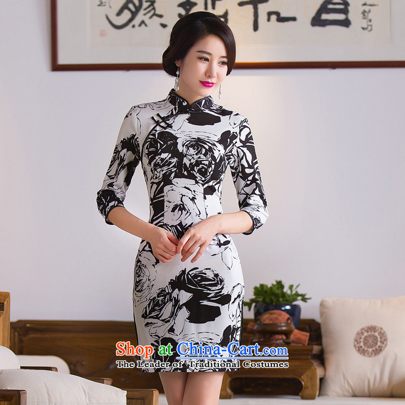 Dan smoke?new 2015 Autumn and Winter Female collar 7 cuff ink stamp cheongsam dress improved dresses figure color?M