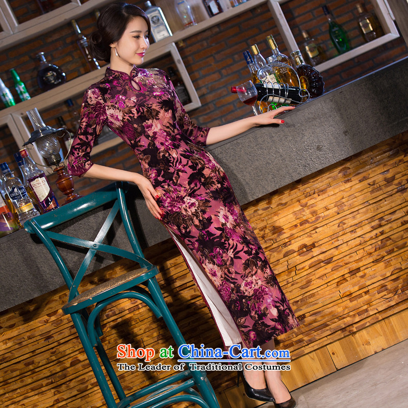 Dan smoke new Fall 2015 improved long qipao cheongsam dress seven plush cuff Stretch Dress Figure Color M