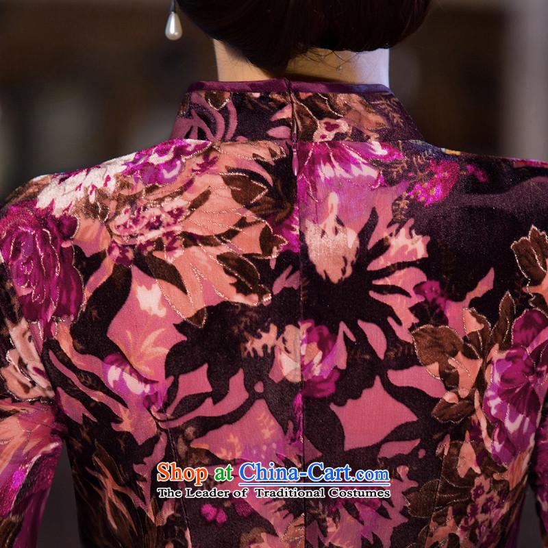 Dan smoke聽new Fall 2015 improved long qipao cheongsam dress seven plush cuff Stretch Dress Figure Color聽M Dan Smoke , , , shopping on the Internet