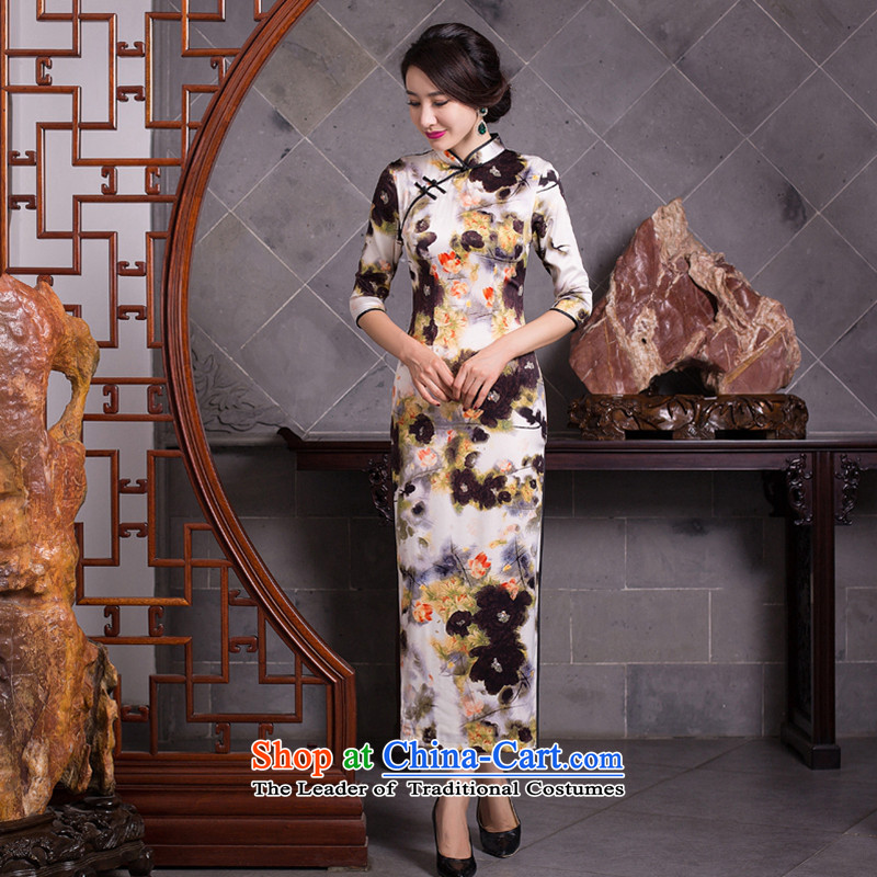 Take the new figure autumn Mock-neck daily retro improved long Silk Cheongsam Sau San 7 cuff dresses female figure color L