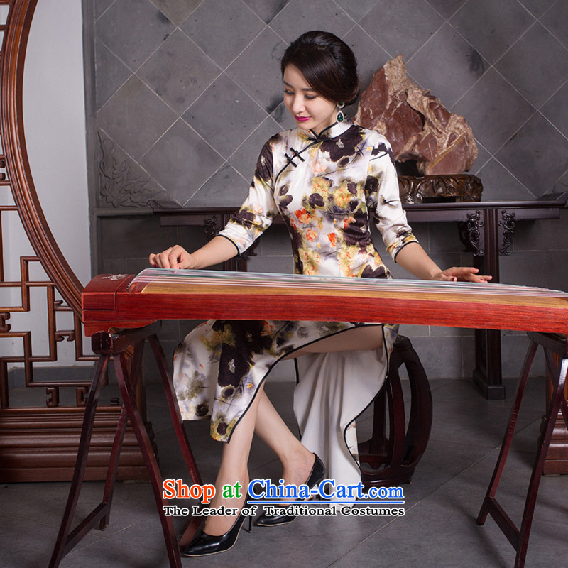 New fall smoke dan Mock-neck daily retro improved long Silk Cheongsam Sau San 7 cuff dresses female figure color L