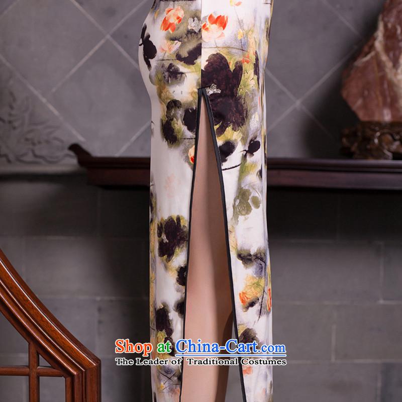 New fall smoke dan Mock-neck daily retro improved long Silk Cheongsam Sau San 7 cuff dresses female figure color聽L, Dan Smoke , , , shopping on the Internet
