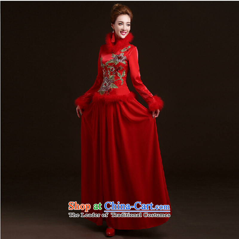 Service bridal dresses bows new marriage long winter wedding dresses red winter of long-sleeved_ Red燲XL