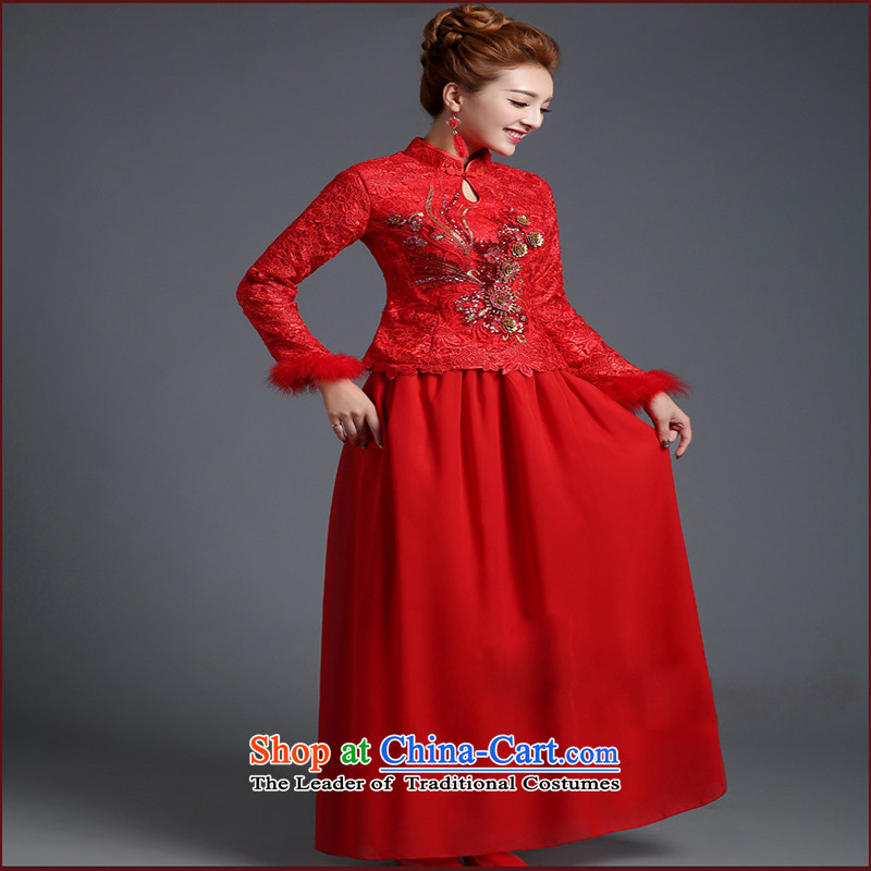 Wedding dresses new winter marriage autumn cheongsam long-sleeved long red bows Service Bridal Fashion chinese red color�XXXL made does not allow
