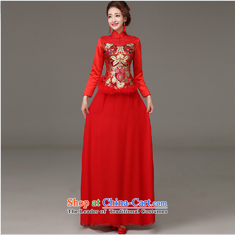 Marriages qipao skirt red long drink service new autumn and winter Chinese Dress retro-lint-free long-sleeved red XXXL made does not allow