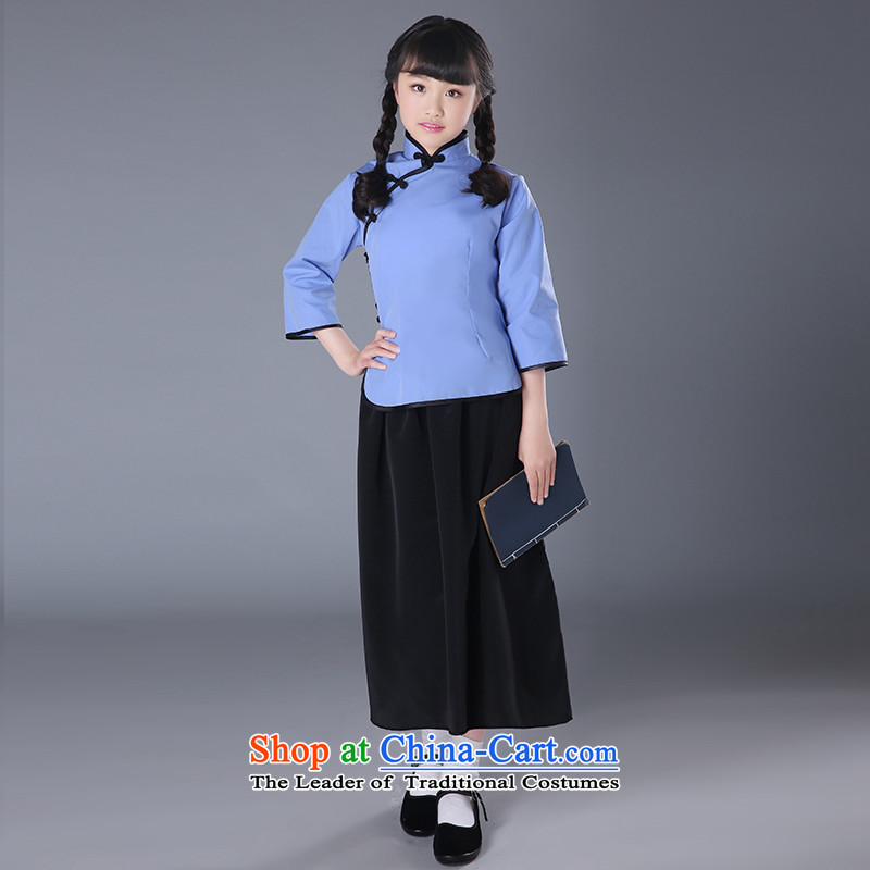 The Republic of Korea, New Syrian time children costume students with wind girls of the Republic of Korea on 4 May Youth Load Miss graduate courses to show graduated quarter year show services clothing light blue long skirt?150CM