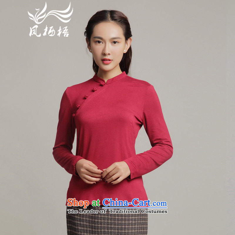 Bong-migratory 7475 Autumn 2015 long-sleeved retro qipao Tang blouses cotton shirt qipao daily Sau San DQ15186 RED燬