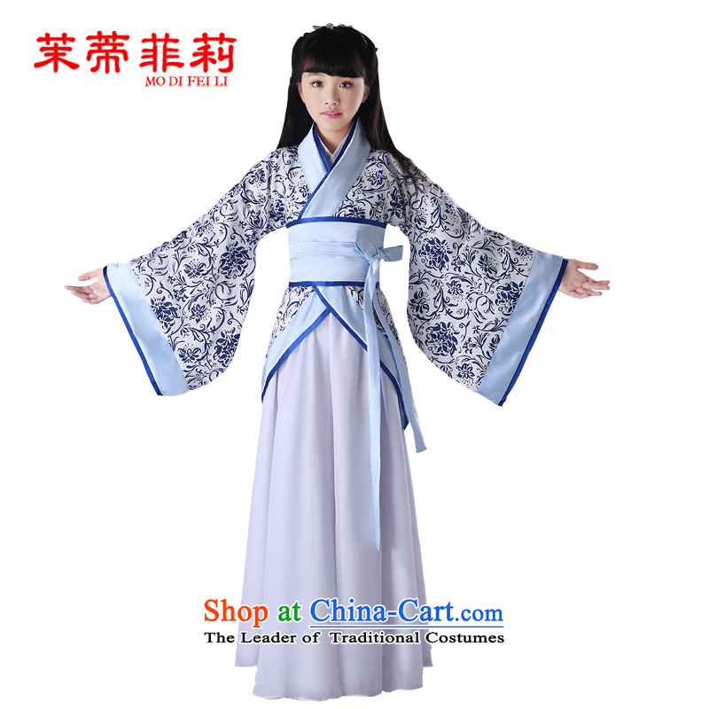 Energy Tifi Li new children's classical performances Han-Photographic Dress seven fairy boy princess skirt guzheng will blue A�0cm