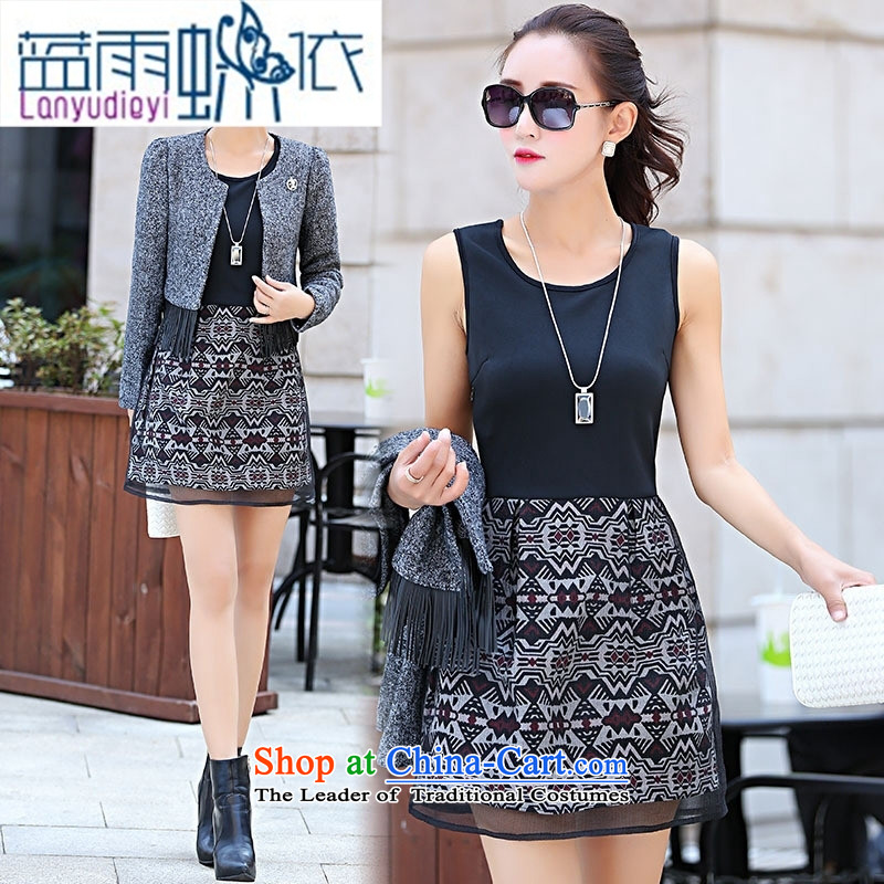 Ya-ting shop 2015 winter clothing new products Korean female elegant dress with two kits BSYG6167 lung picture color聽XL
