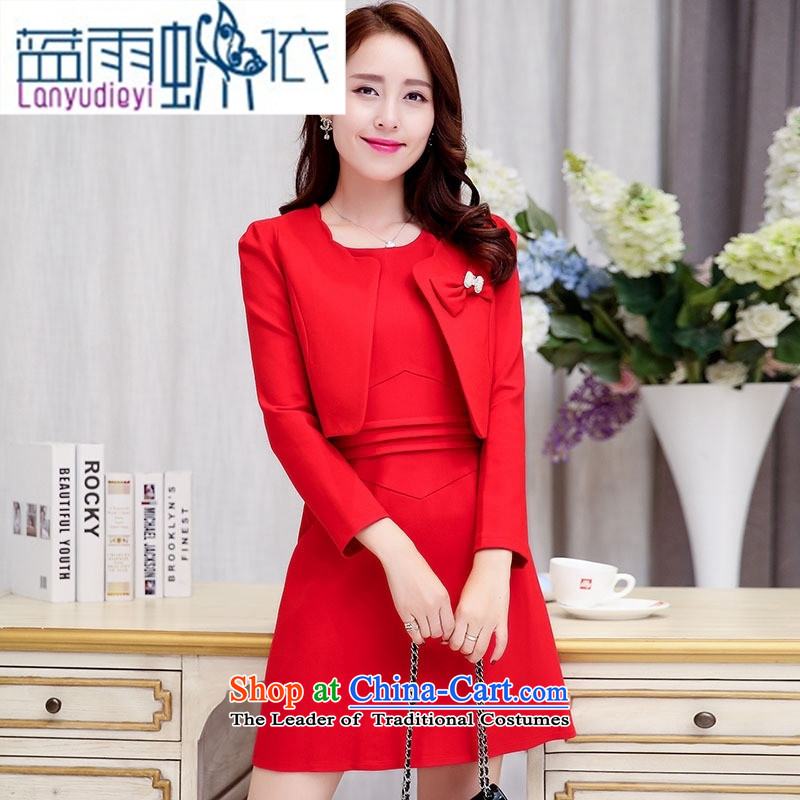 Ya-ting shop 2015 Fall_Winter Collections of new products Korean women's dresses two kits BAMS9035 dragon red?XL