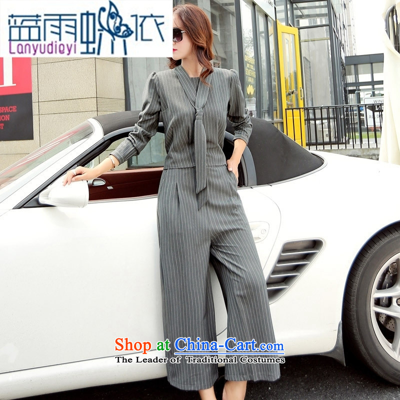 Ya-ting shop 2015 new products fall Korean women's temperament, pants BYBE106 two kits with hanging black聽XXL