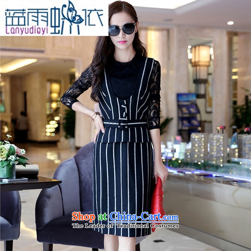 Ya-ting shop 2015 winter clothing new products Korean female elegant dresses two kits BSYG6177 black?L