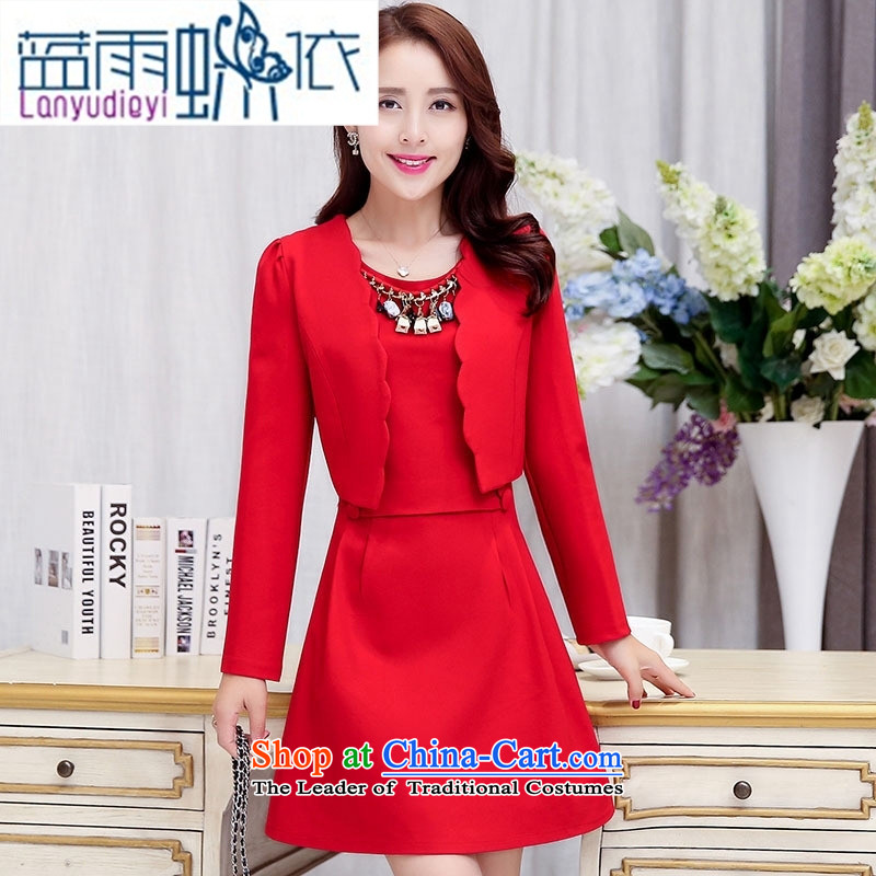 Ya-ting shop 2015 Fall_Winter Collections of new products Korean women's dresses BAMS9038 two kits with necklaces black?M