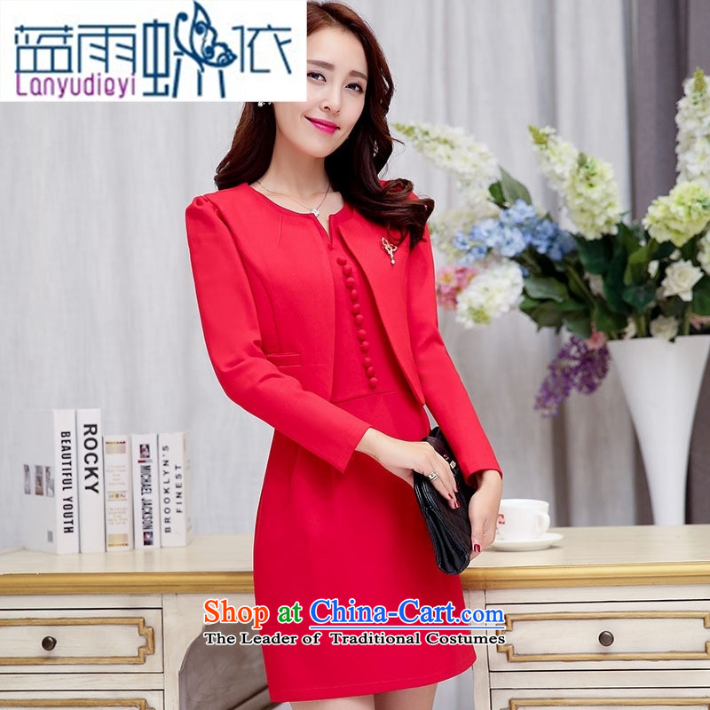 Ya-ting shop 2015 Fall_Winter Collections of new products Korean women's dresses two kits BAMS9036 dragon red and black聽XXL