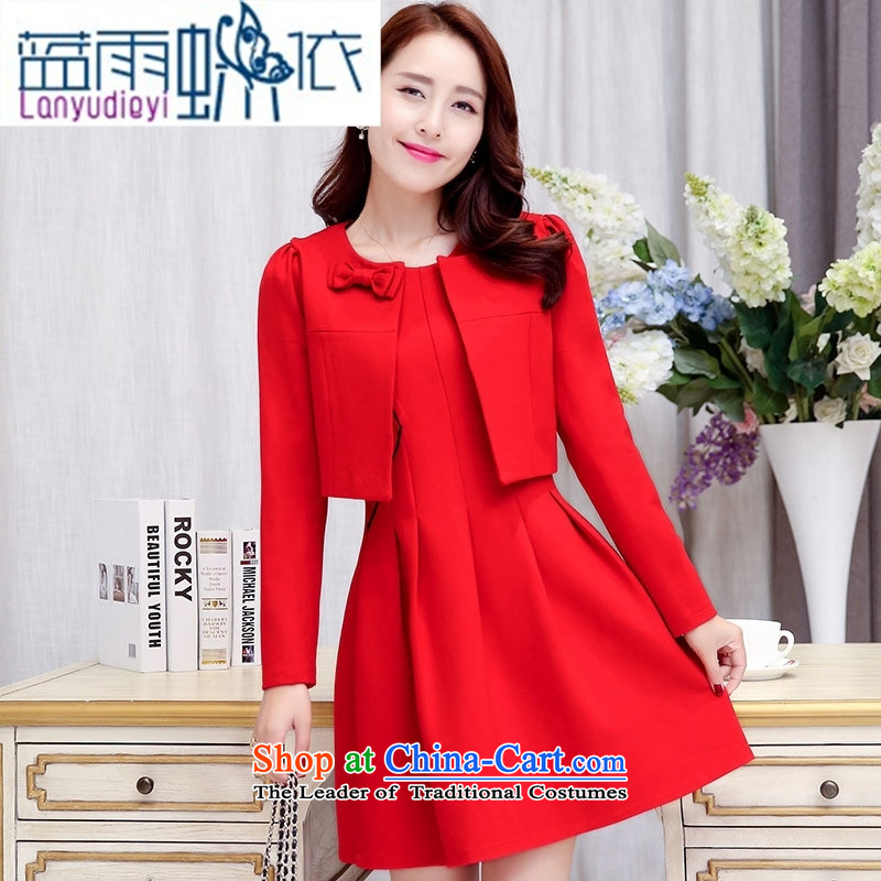 Ya-ting shop 2015 Fall_Winter Collections of new products Korean women's dresses two kits BAMS9033 black聽XXL