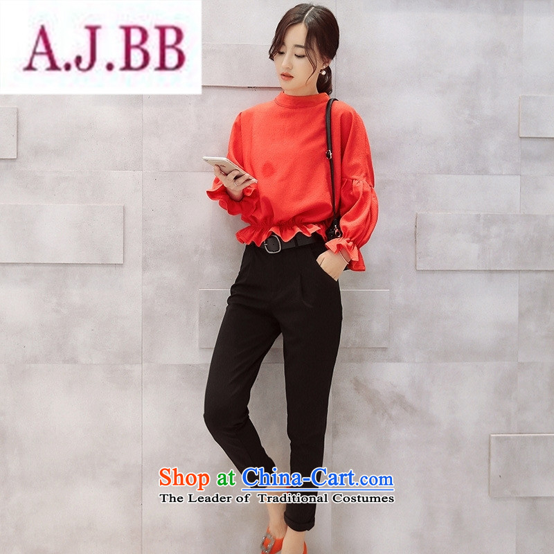 Ms Rebecca Pun stylish shops 2015 Fall_Winter Collections of new products Korean ladies' pants with two-piece BXMTZ9952 Longda Red + Black聽M