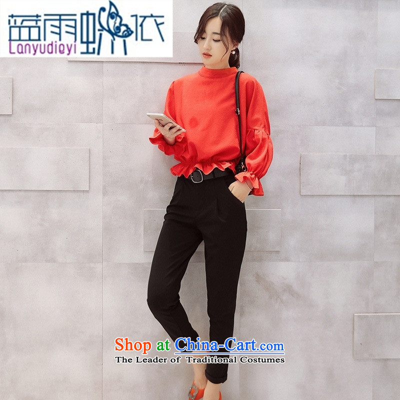 Ya-ting shop 2015 Fall_Winter Collections of new products Korean ladies' pants with two-piece BXMTZ9952 Longda Red + Black?L