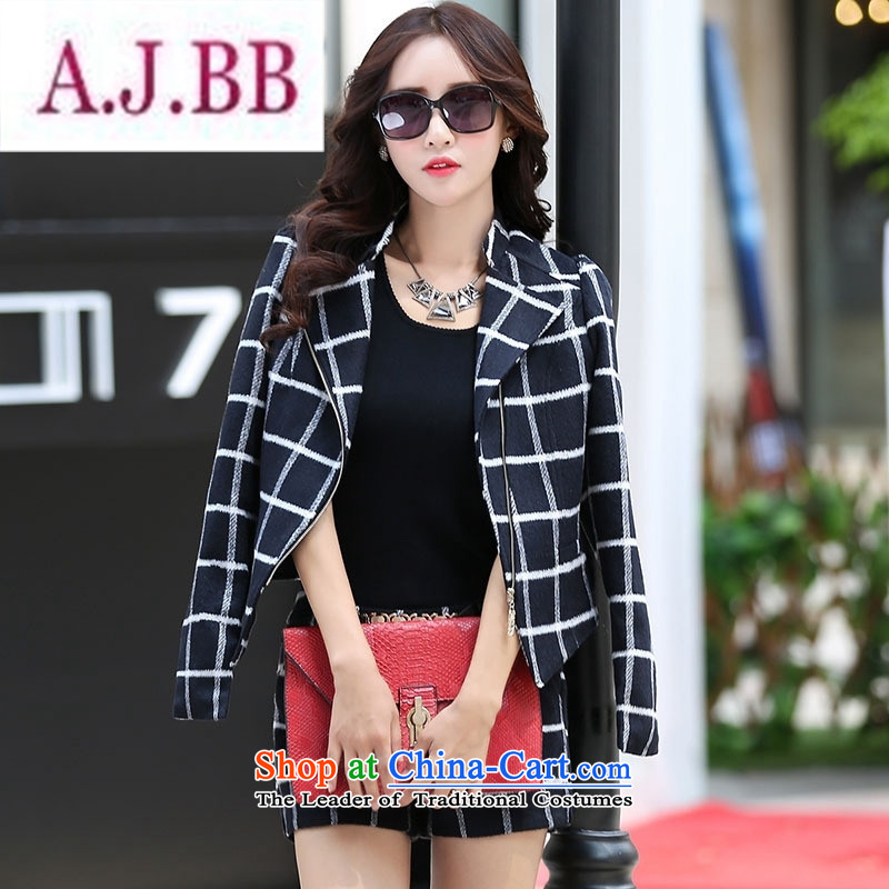Ms Rebecca Pun stylish shops 2015 winter clothing new products Korean women's stylish pants two kits BSYG6160 Dragon Dark Gray Grid聽XXL
