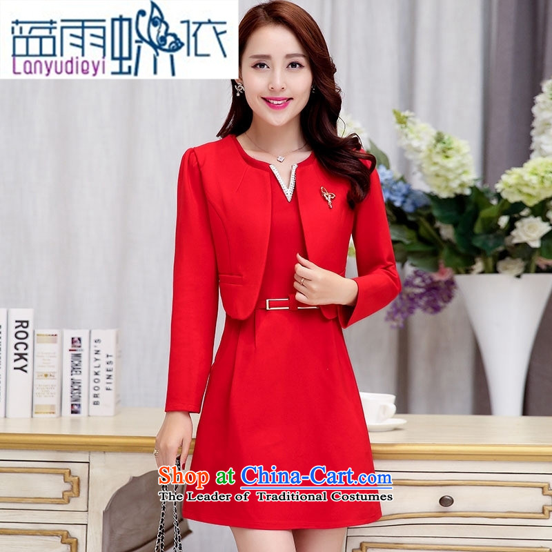 Ya-ting shop 2015 Fall/Winter Collections new Korean girl who decorated dresses two kits BAMS9037 dragon red and black?L