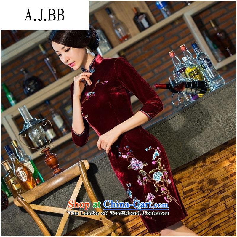 And involved shops _8101 really scouring pads middle-aged moms with embroidery qipao gown wedding-day improved in the retro-sleeved qipao wine red燲XL