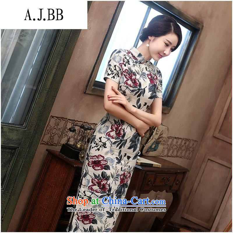 _ retro shops and involve improved cotton linen, short-sleeved in long cheongsam dress Starke robe dress ink MUI?XXL