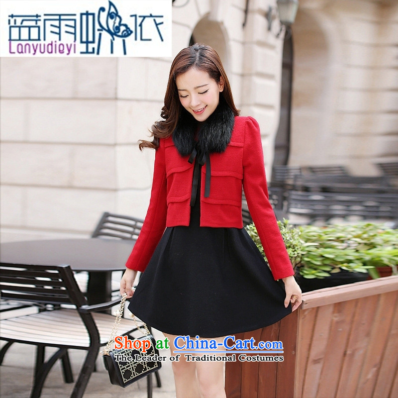 Ya-ting shop 2015 winter clothing new products Korean women's stylish dress with two kits AXPHA808 dragon bright red燲XL