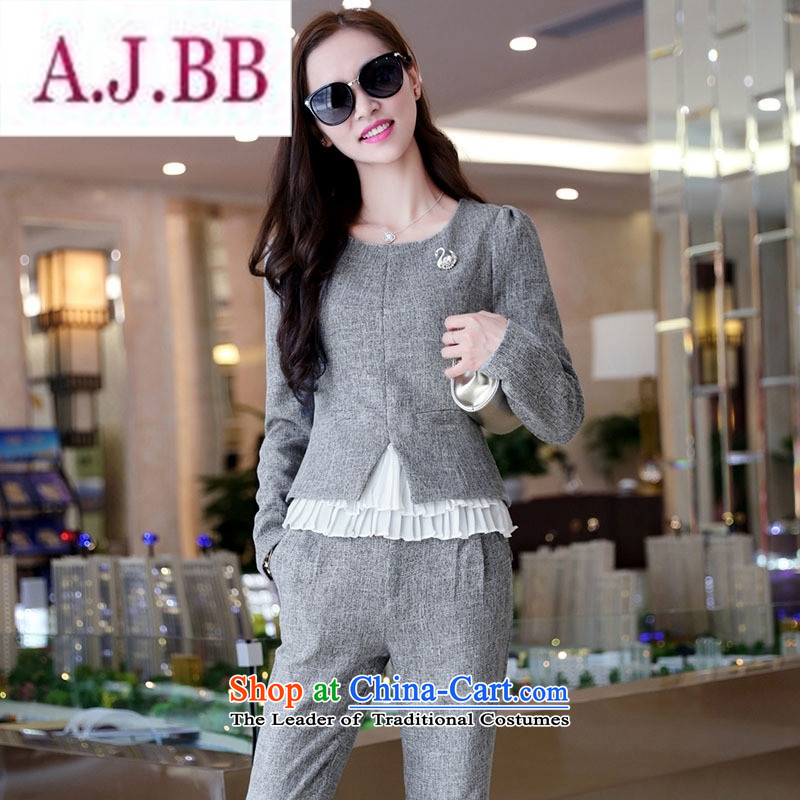 Ms Rebecca Pun stylish shops 2015 winter clothing new products Korean female decorated trousers with two-piece BSYG6176 Dragon Gray聽L