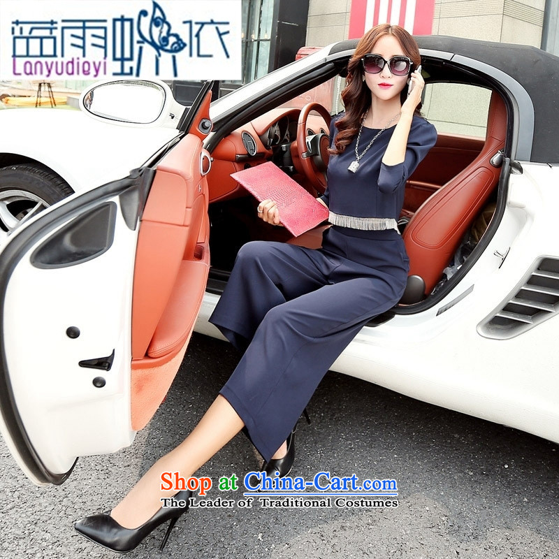 Ya-ting shop 2015 new products fall Korean female graphics thin pants BYBE103 two kits with Hang Lung navy blue聽XL
