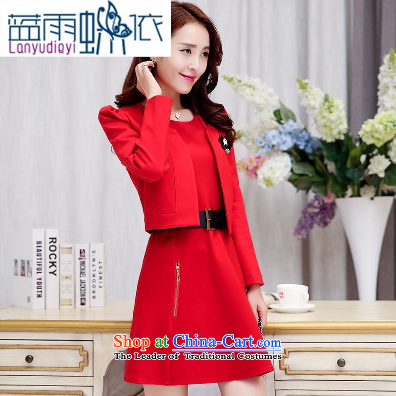 Ya-ting shop 2015 Fall_Winter Collections of new products Korean women's dresses BAMS9039 two kits with waistband dragon red and black燤