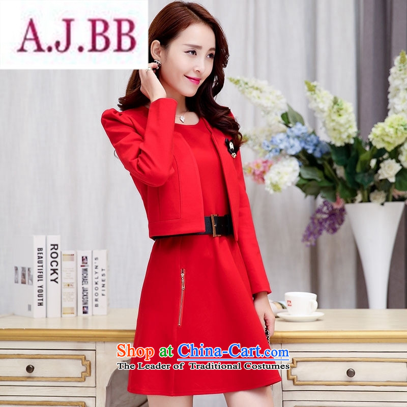 Ms Rebecca Pun stylish shops 2015 Fall/Winter Collections of new products Korean women's dresses BAMS9039 two kits with waistband dragon red and black?XXL