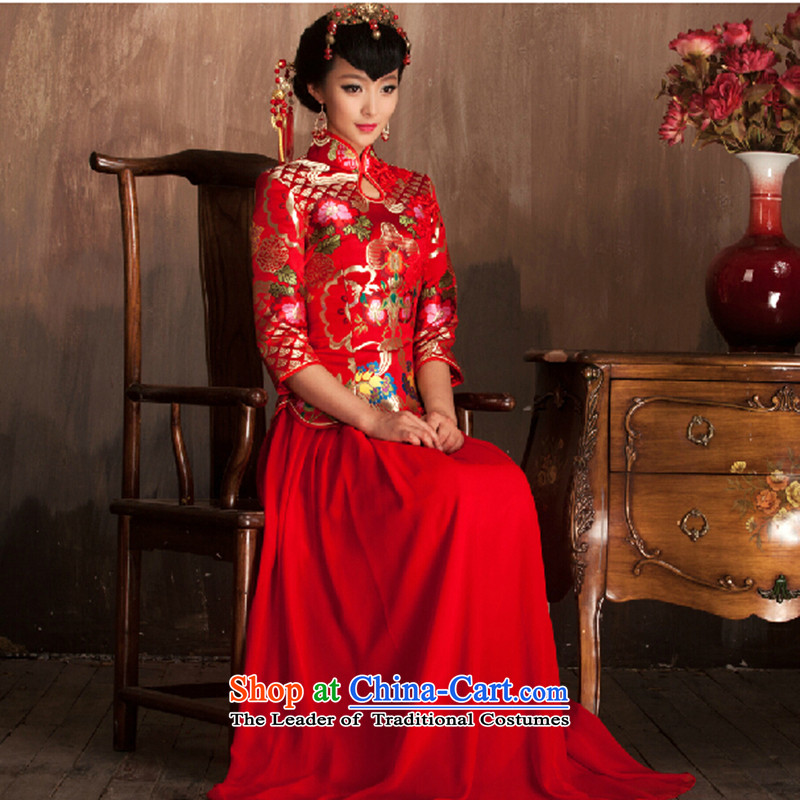 Marriages qipao autumn and winter new wedding dresses long serving Chinese bows, Retro improved red qipao red 7 Cuff燤