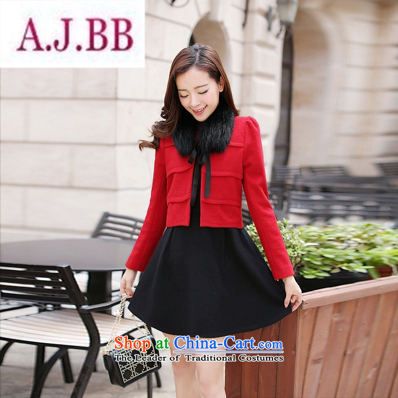 Ms Rebecca Pun stylish shops 2015 winter clothing new products Korean women's stylish dress with two kits AXPHA808 Dragon Chinese red?XXL
