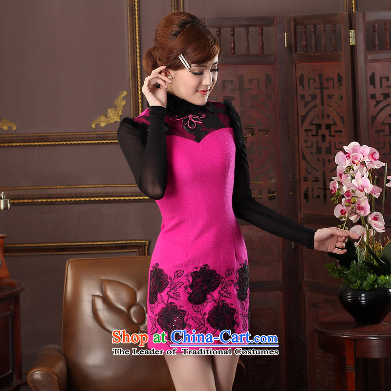 The aristocratic oriental 2015 new products winter wool sleeveless cheongsam dress gross collar embroidery cheongsam dress?574426 in the ordinary course of Red?L