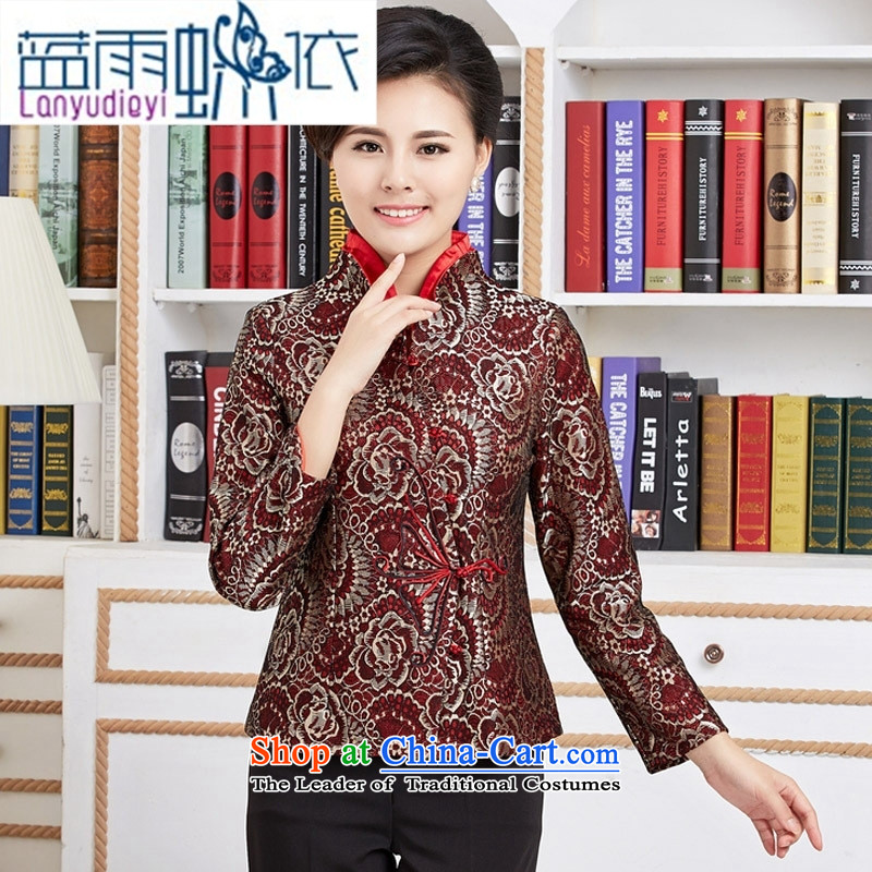 Ms. Ya-ting shop Tang blouses female long-sleeve sweater with Spring and Autumn Chinese improved national dress mother red燲XL